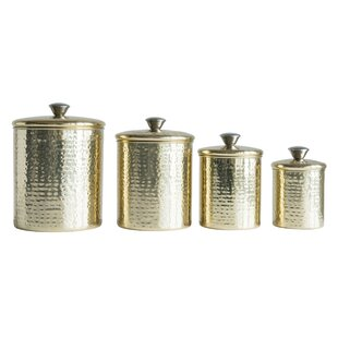 Hammered Stainless Steel 4 Piece Kitchen Canister Set