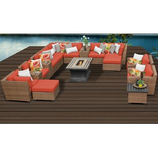 Rosecliff Heights East Village 17 Piece Sectional Set with Cushions