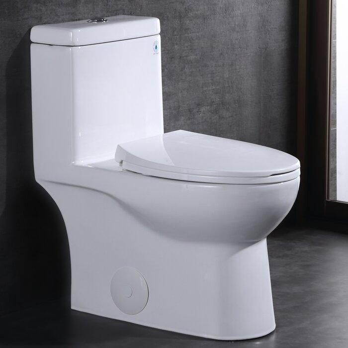 Dual-Flush 1 28 Water Efficient Elongated One-Piece Toilet High-Efficiency  Flush