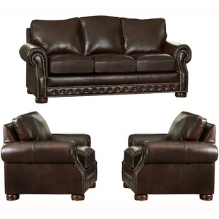 Pelaez 3 Piece Leather Living Room Set by Canora Grey