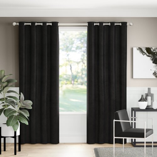 Eyelet Blackout Thermal Curtains Marlow Home Co. Size per Panel: 168 W x 229 D cm, Colour: Black