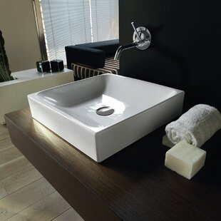 Affordable Cento Ceramic Ceramic Square Vessel Bathroom Sink ByWS Bath Collections