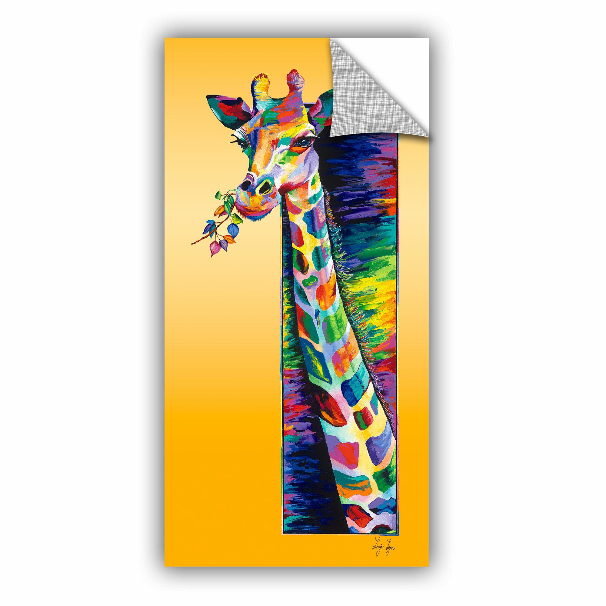 ArtWall ArtApeelz collection Giraffe Eating by Linzi Lynn Painting ...
