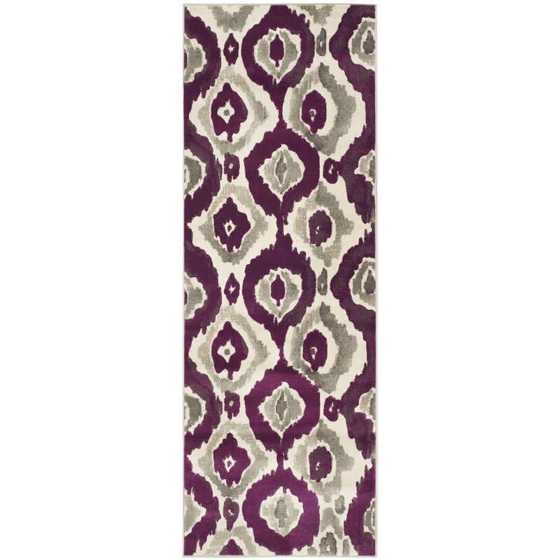 World Menagerie Deasia Ivory Purple Area Rug Reviews Wayfair