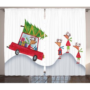 Christmas Reindeer Family Graphic Print Room Darkening Rod Pocket Curtain Panels (Set of 2) by The Holiday Aisle