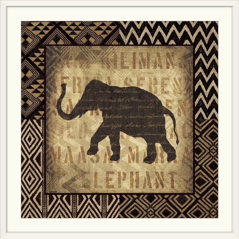 'African Wild Elephant Border' wall Art Print- Moroccan Wall Decor