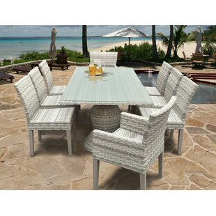 Rosecliff Heights Ansonia Wicker 9 Piece Outdoor Dining Set