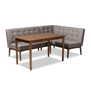 Bopp Mid-Century Modern Upholstered 3 Piece Breakfast Nook Dining Set Corrigan Studio