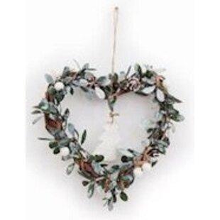 Mistletoe Heart 10cm Wood Wreath By The Seasonal Aisle