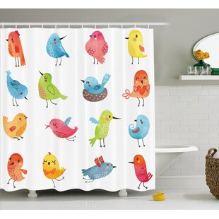 Lottie Colorful Cute Humor Bird Single Shower Curtain
