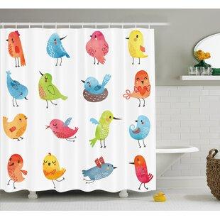 Lottie Colorful Cute Humor Bird Single Shower Curtain