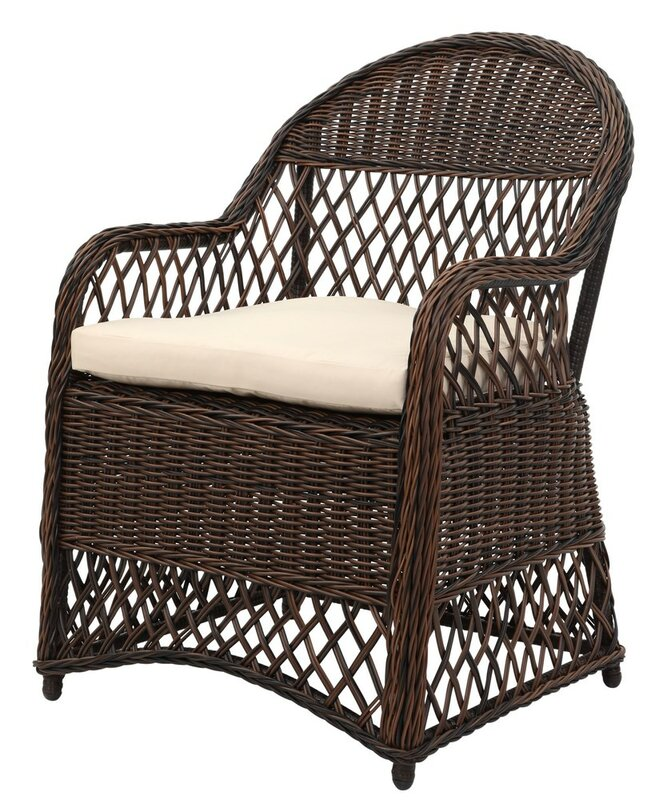 Rattan Patio Chair with Ivory Cushion