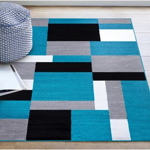 Tarra Tufted Teal/Black/White Indoor/Outdoor Rug By Ebern Designs