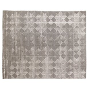 Greek Key Greco Hand Knotted Wool Silver Area Rug