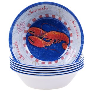 Maritime Melamine Lobster All Purpose Bowl (Set of 6)