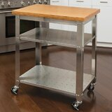 Irene Kitchen Work Table Kitchen Cart with Bamboo Top by Red Barrel Studio®