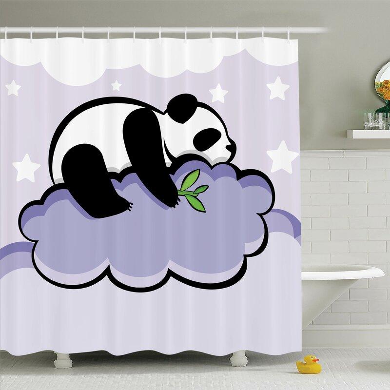 Bathroom Waterproof Fabric Shower Curtain Liner 12 Hooks Cool Panda in Flowers