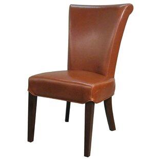 Lehner Genuine Leather Upholstered Dining Chair (Set of 2) Alcott Hill