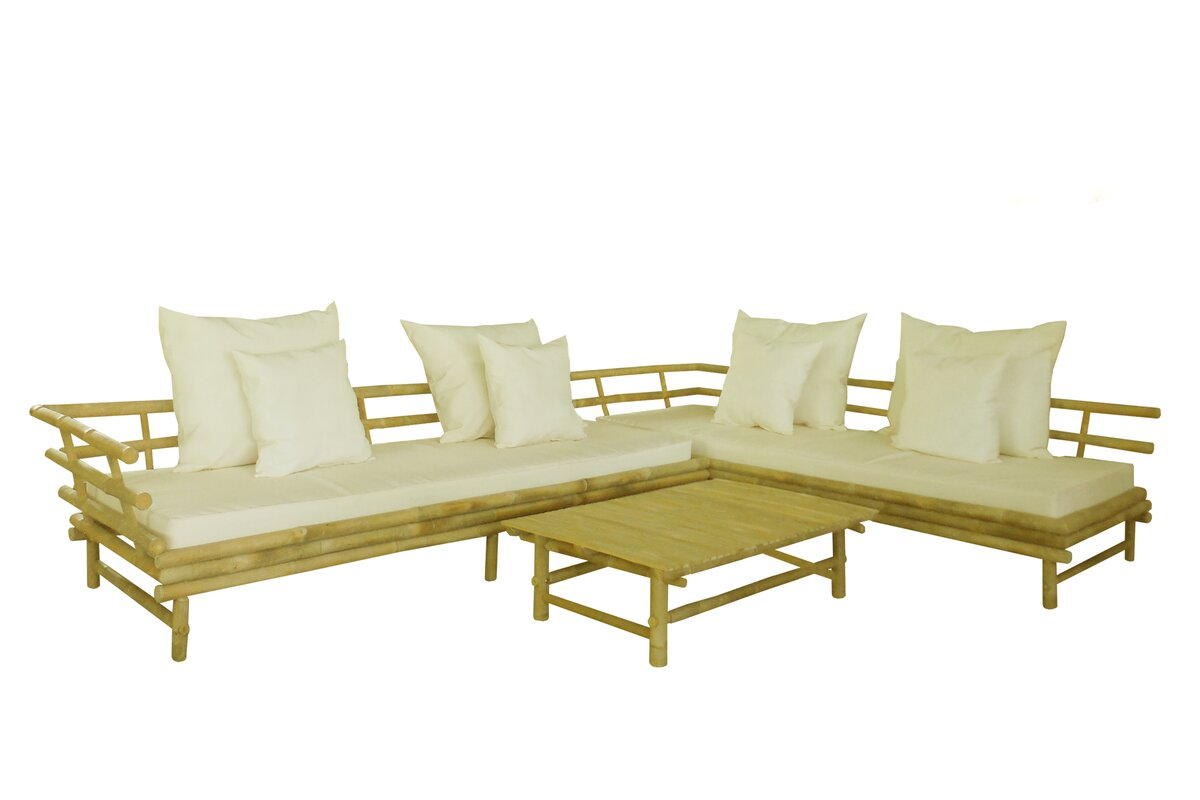 Design Bamboo Couch zew bamboo 3 piece deep seating outdoor couch with cushion cushion