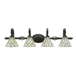Astoria Grand Weathers 4-Light 100W Tiffany Glass Shade Vanity Light