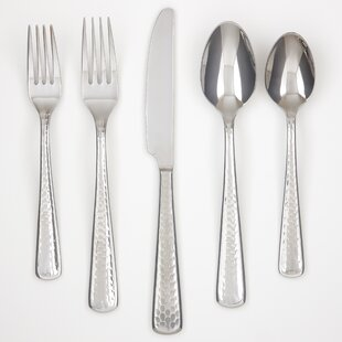 Francine Mirrored Hammered 60 Piece Flatware Set, Service for 12