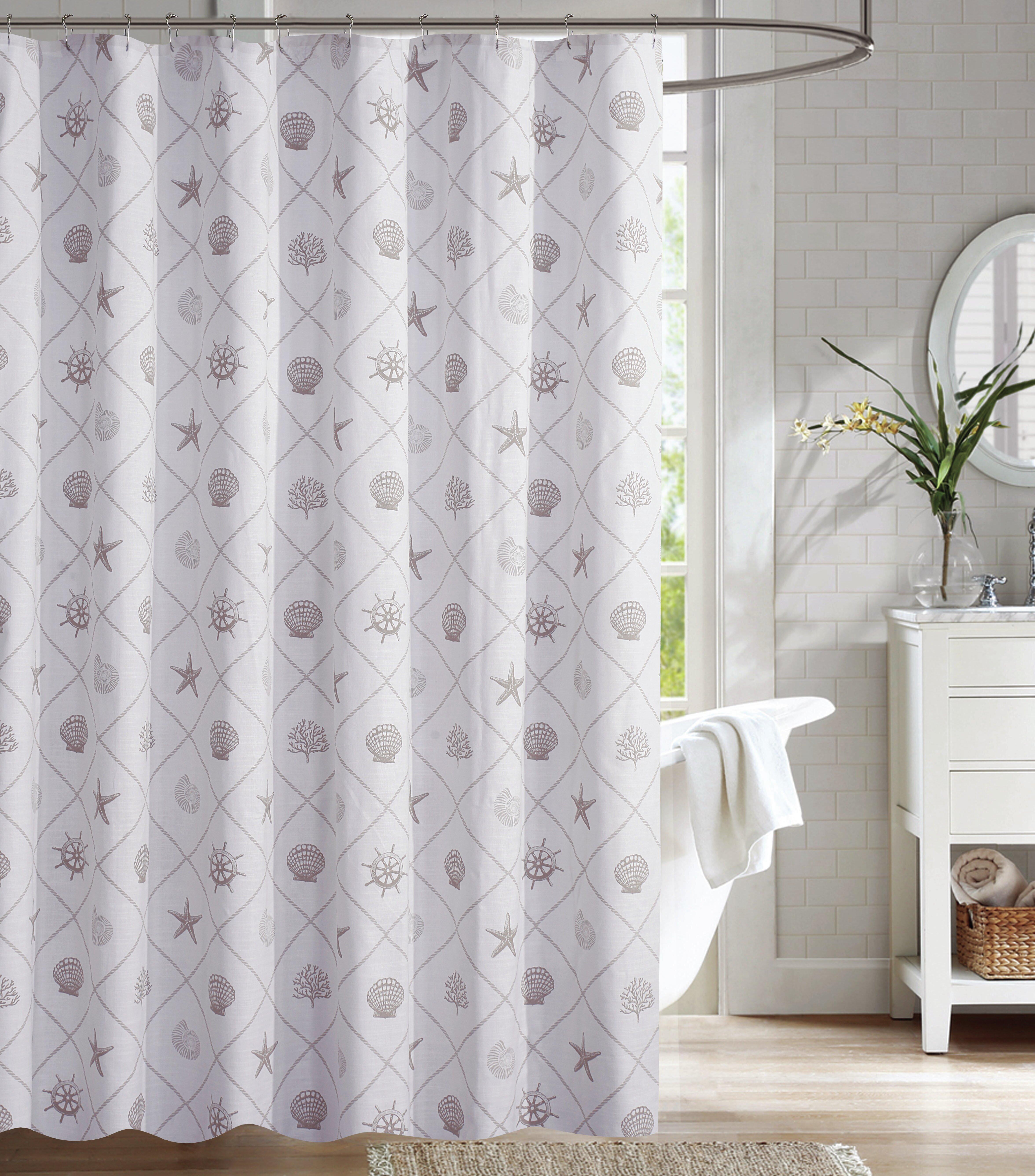 Highland Dunes Nedra Coastal Trellis 100 Cotton Shower Curtain Reviews