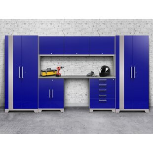 Performance Plus 2.0 8 Piece Storage Cabinet Set with Stainless Steel Worktop by NewAge Products