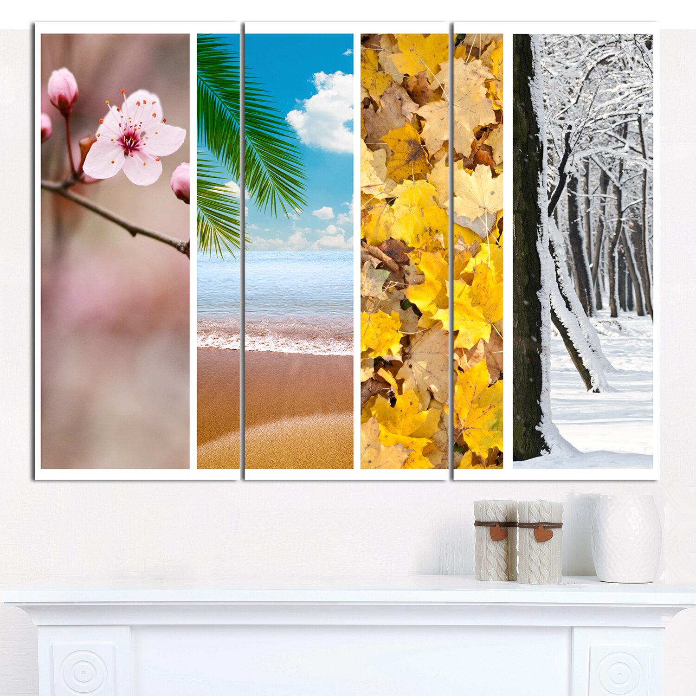 Designart Four Seasons World Collage Photographic Print Multi Piece Image On Canvas Wayfair