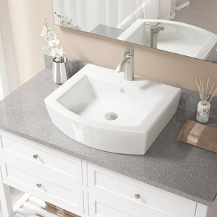 Specialty Vitreous China Specialty Vessel Bathroom Sink with Faucet and Overflow ByMR Direct