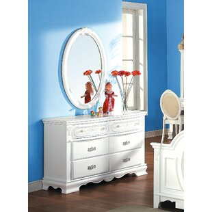 Canonbury Creative Youth Wooden 6 Drawer Double Dresser with Mirror