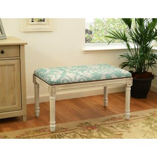 Floral Upholstered and Wood Bench