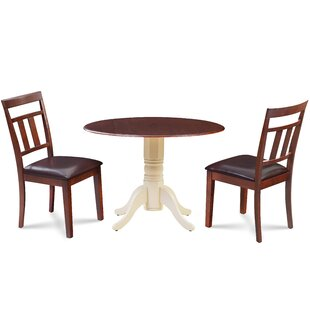 Raymond 3 Piece Drop Leaf Solid Wood Dining Set Millwood Pines
