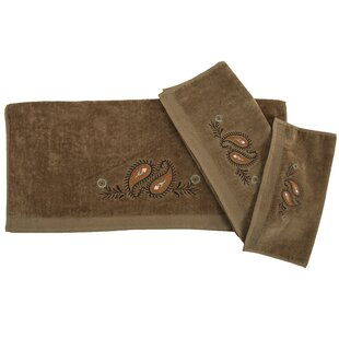 Rebecca Embroidered Western Paisley 3 Piece Towel Set