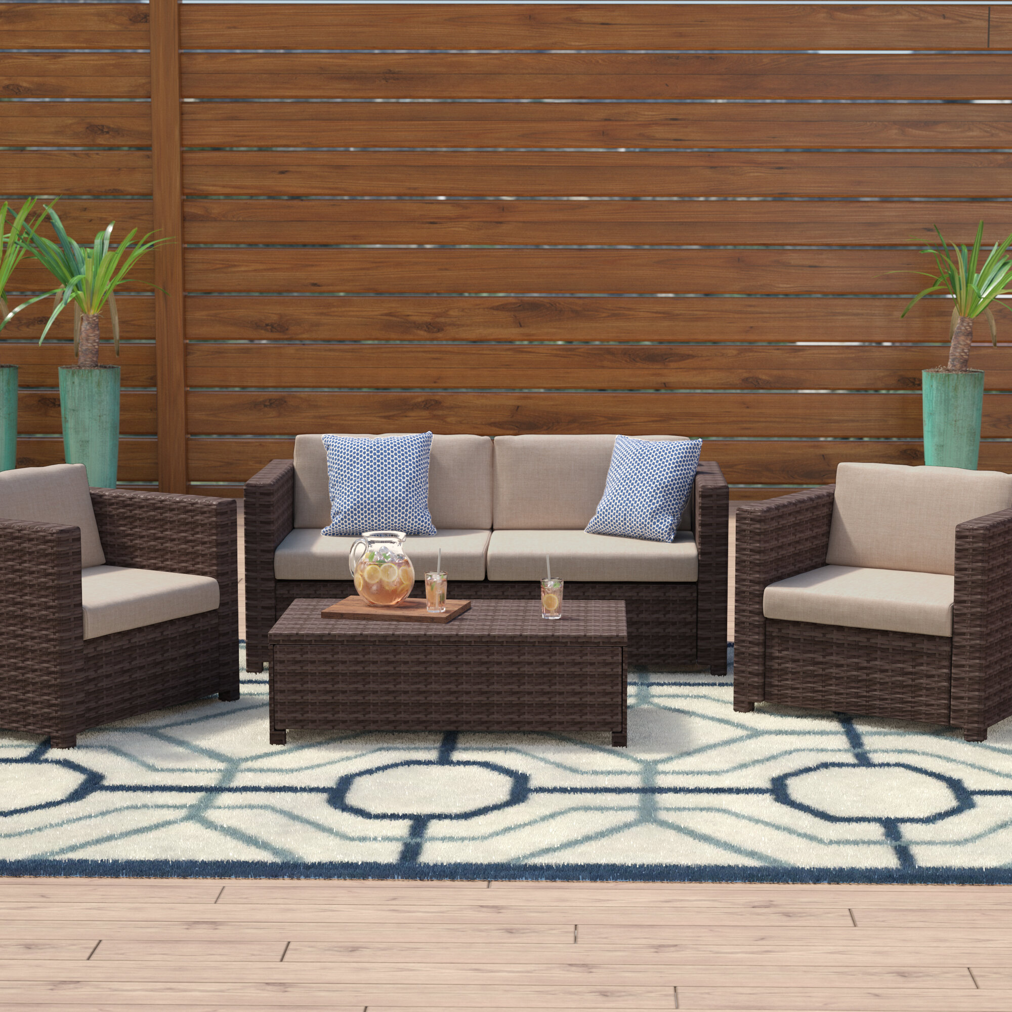 Belva 4 Piece Rattan Sofa Set: Rattan Sofa Sets Livingston 4 Piece Rattan Sofa Set With