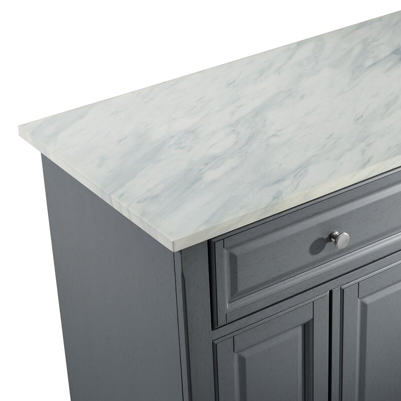 Andover Mills Moser Kitchen Island With Faux Marble Top Reviews Wayfair