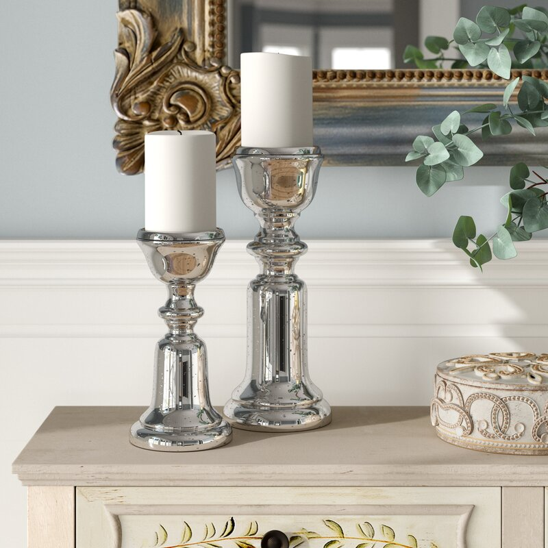 Lark Manor 2 Piece Glass And Metal Candlestick Set Reviews Wayfair