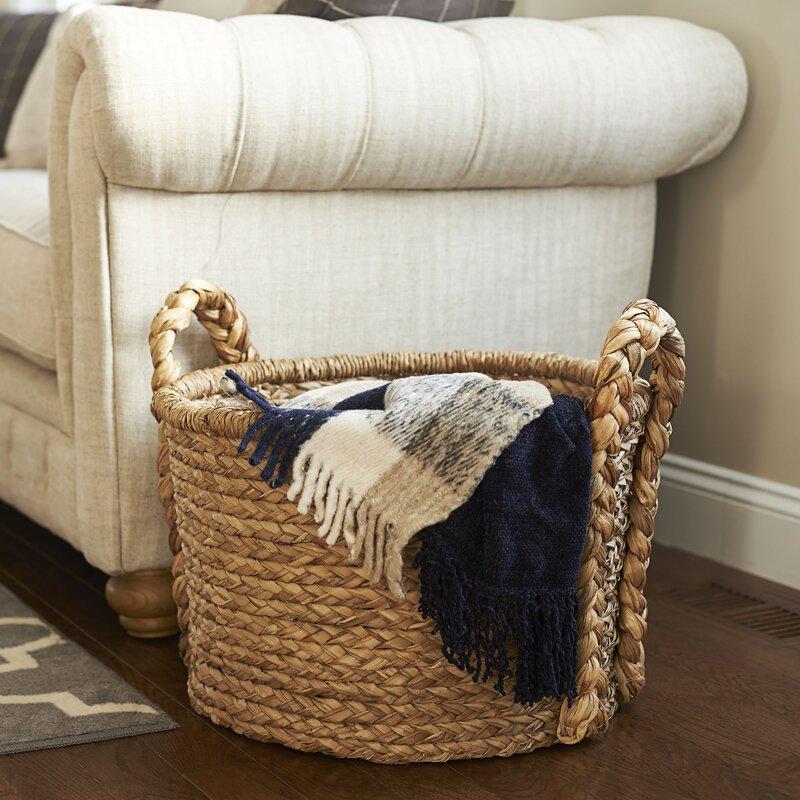 living room decor wicker basket