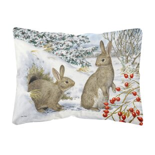 Rushin Winter Rabbits Fabric Indoor/Outdoor Throw Pillow