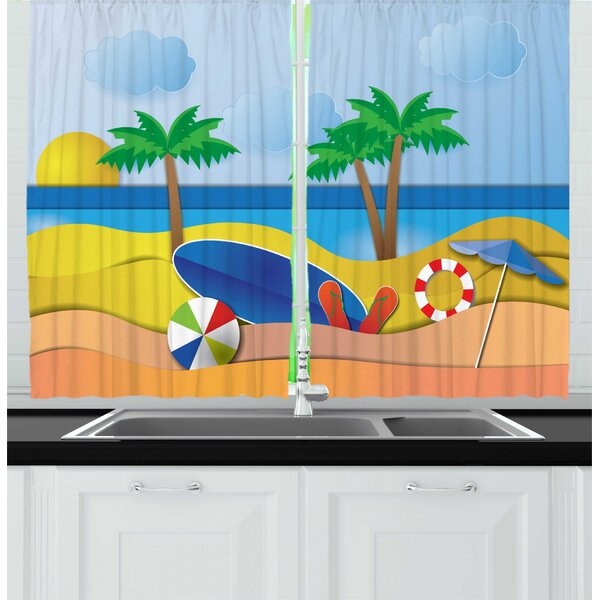 East Urban Home 2 Piece Graphic Beach Paper Cut Art Style Sea View At Summer Surf Board Ball Flip Flops Umbrella Kitchen Curtain Set Wayfair