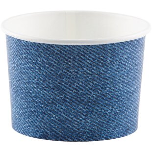 Denim Print Paper Disposable Cup (Set of 24)