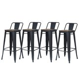 Brammer Solid Wood 30'' Bar Stool (Set of 4) by 17 Stories