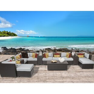 TK Classics Barbados 14 Piece Rattan Sectional Set with Cushions
