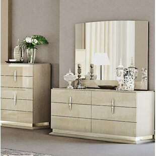 Kersh 6 Drawer Double dresser with Mirror