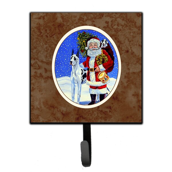 The Holiday Aisle Andes Harlequin Great Dane With Santa Claus Wall Key Organizer With Key Hooks Wayfair