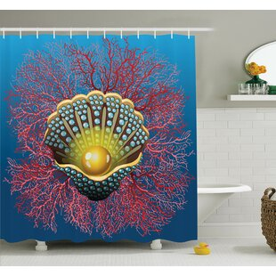 Coral Nautical Art Shower Curtain Set