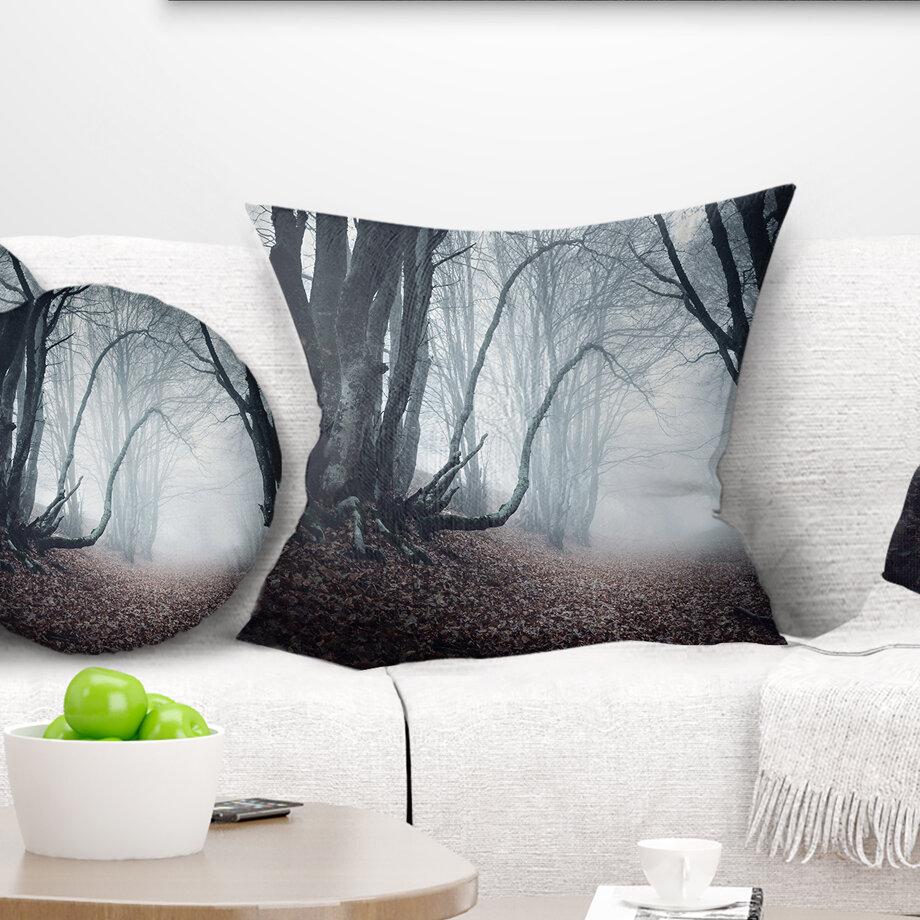 East Urban Home Landscape Mysterious Fairytale Foggy Wood Throw Pillow Wayfair