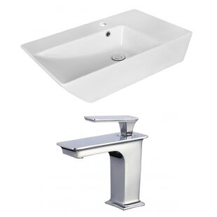 Reviews Ceramic Rectangular Vessel Bathroom Sink with Faucet and Overflow ByRoyal Purple Bath Kitchen