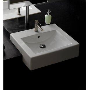 Ceramic Rectangular Vessel Bathroom Sink with Overflow ByScarabeo by Nameeks