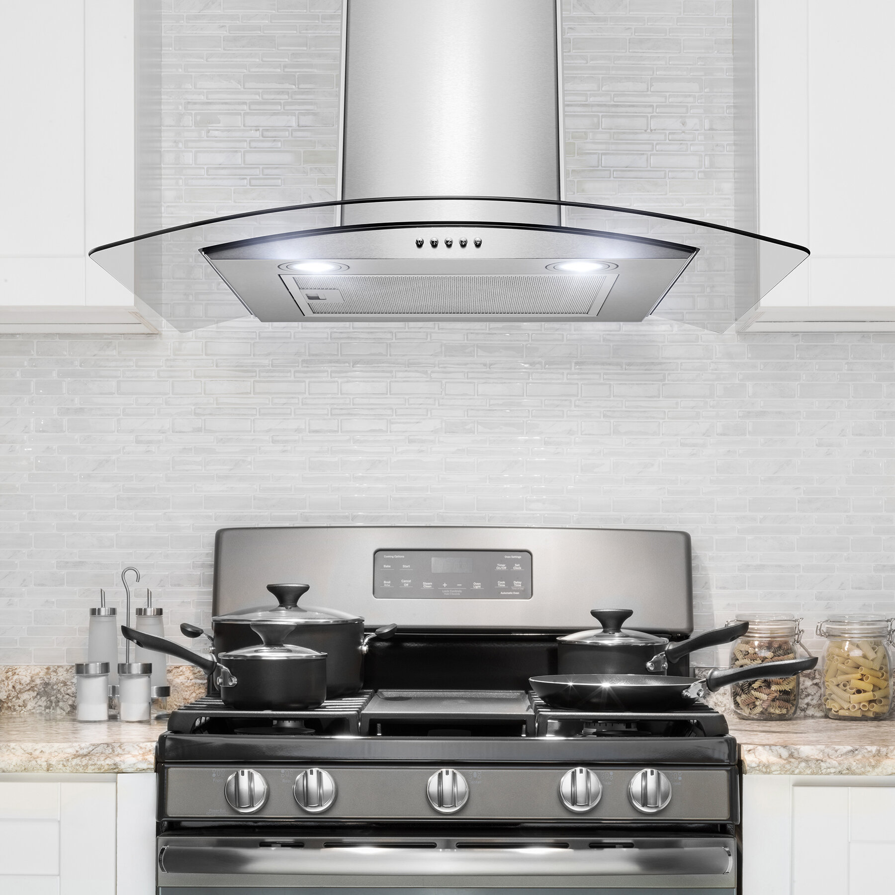 30 299 cfm convertible wall mount range hood in brushed stainless steel