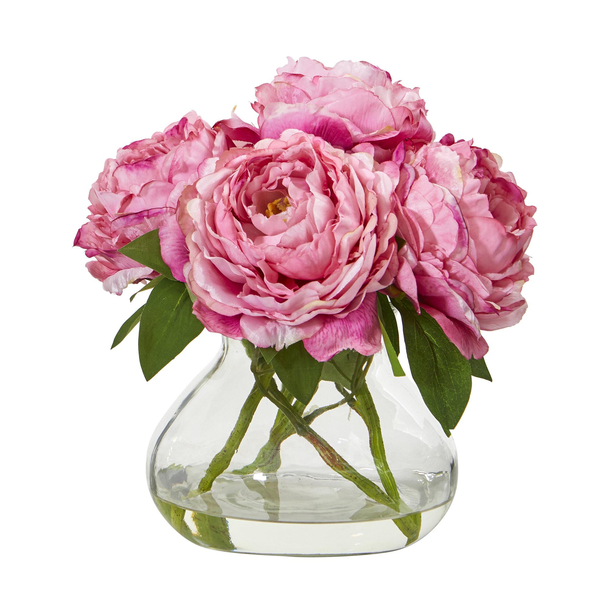 House Of Hampton Artificial Peonies Floral Arrangements In Vase Reviews Wayfair